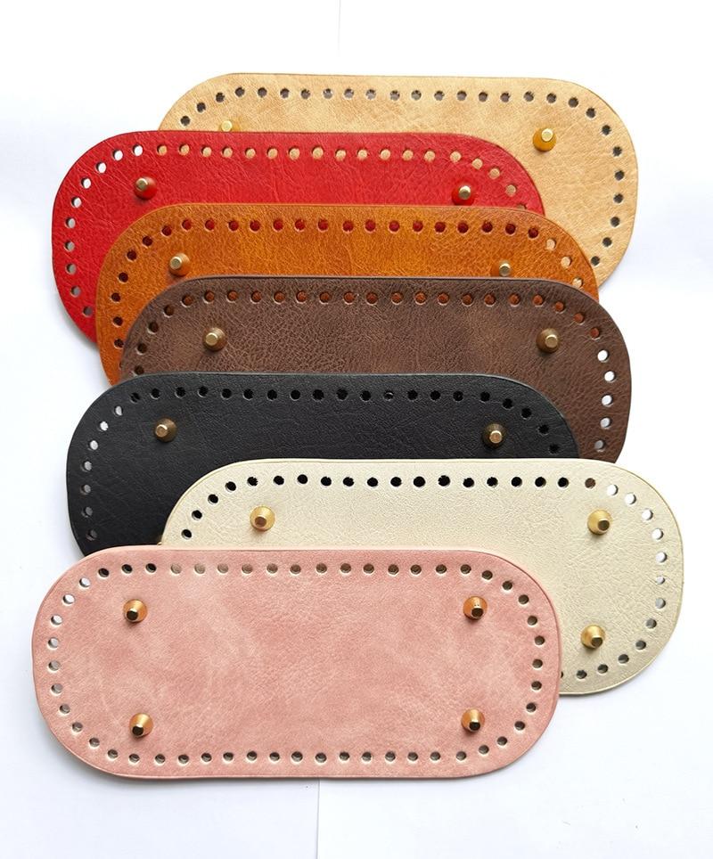 Fashion Luggage Oval Hardware Accessories Hand Woven Bag DIY Women's Hook Bottom Pu Simulation Leath