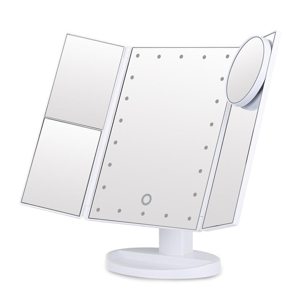 للطي المرايا الجدول مرآة ماكياج المرايا التجميل ديكور المنزل هدايا التصميم الداخلي مضيئة 22 LED USB الجمال الحمام LED