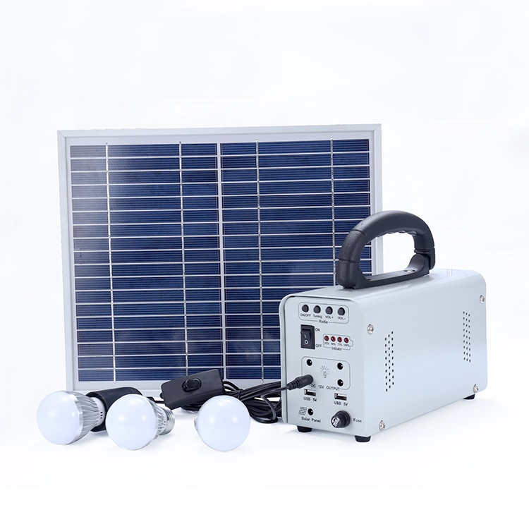 Fabricante de China, panel portátil fuera de la red, energía alimentada, luz led al aire libre, panel solar de 10w, kit de 12v