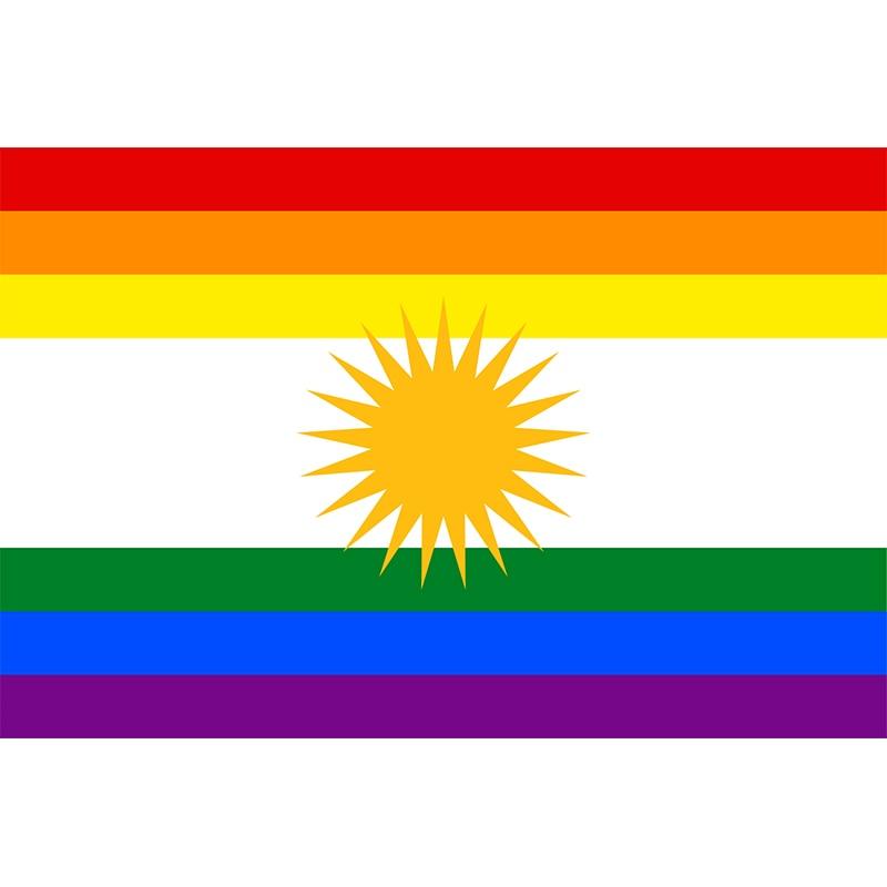 Yehoy suspendus 90*150cm Kurdistan LGBT drapeau arc-en-ciel pour la décoration