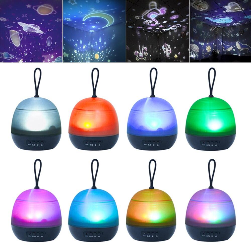 Proyector de luz nocturna giratorio cielo estrellado estrella maestro niños bebé sueño colorido LED Starlight USB Lámpara de proyección Decoración