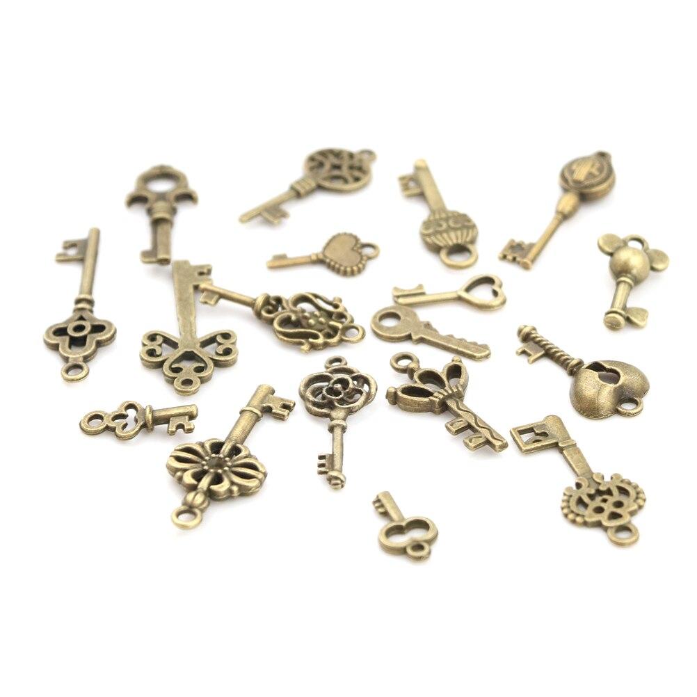 2018 moda 18 pçs/sets antigo vintage bronze ornamentado esqueleto chaves lote colar pingente fantasia decoração do coração diy artesanato presentes