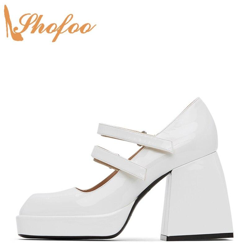 الأبيض منصة ماري جينس هوك و حلقة النساء مضخات عالية حذاء بكعب سميك ساحة تو السيدات الصيف أحذية أنيقة حجم كبير 14 15 Shofoo