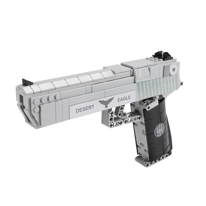 Máquina de juguete pistola revólver pistola brazo lateral automático bloques de construcción desierto águila rompecabezas montado juguetes para Fans militares