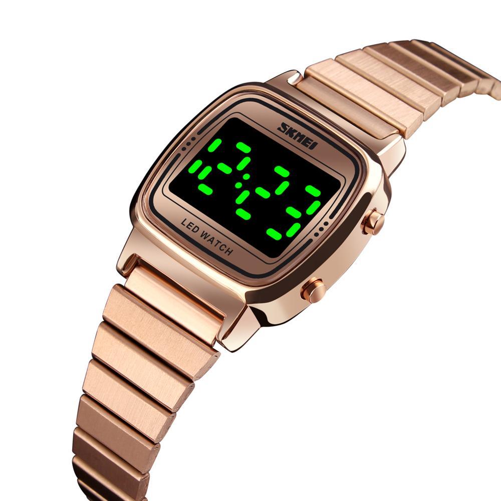 Relojes de lujo para mujer de marca SKMEI, reloj Digital de acero inoxidable con pantalla LED, reloj de pulsera para mujer, reloj de moda