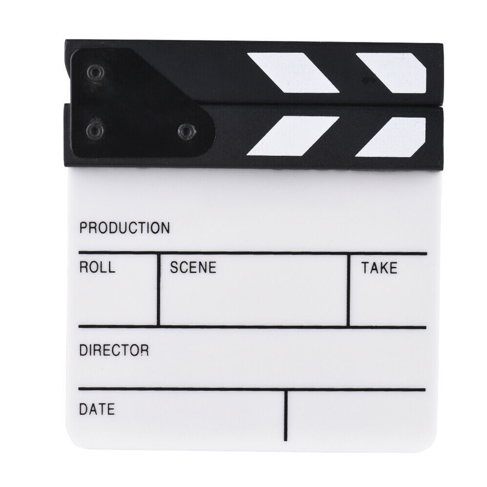 Fotografía de alto rendimiento película seca borrar estudio TV escena de acción acrílico Video película Clap Board corte Prop hecho a mano Director