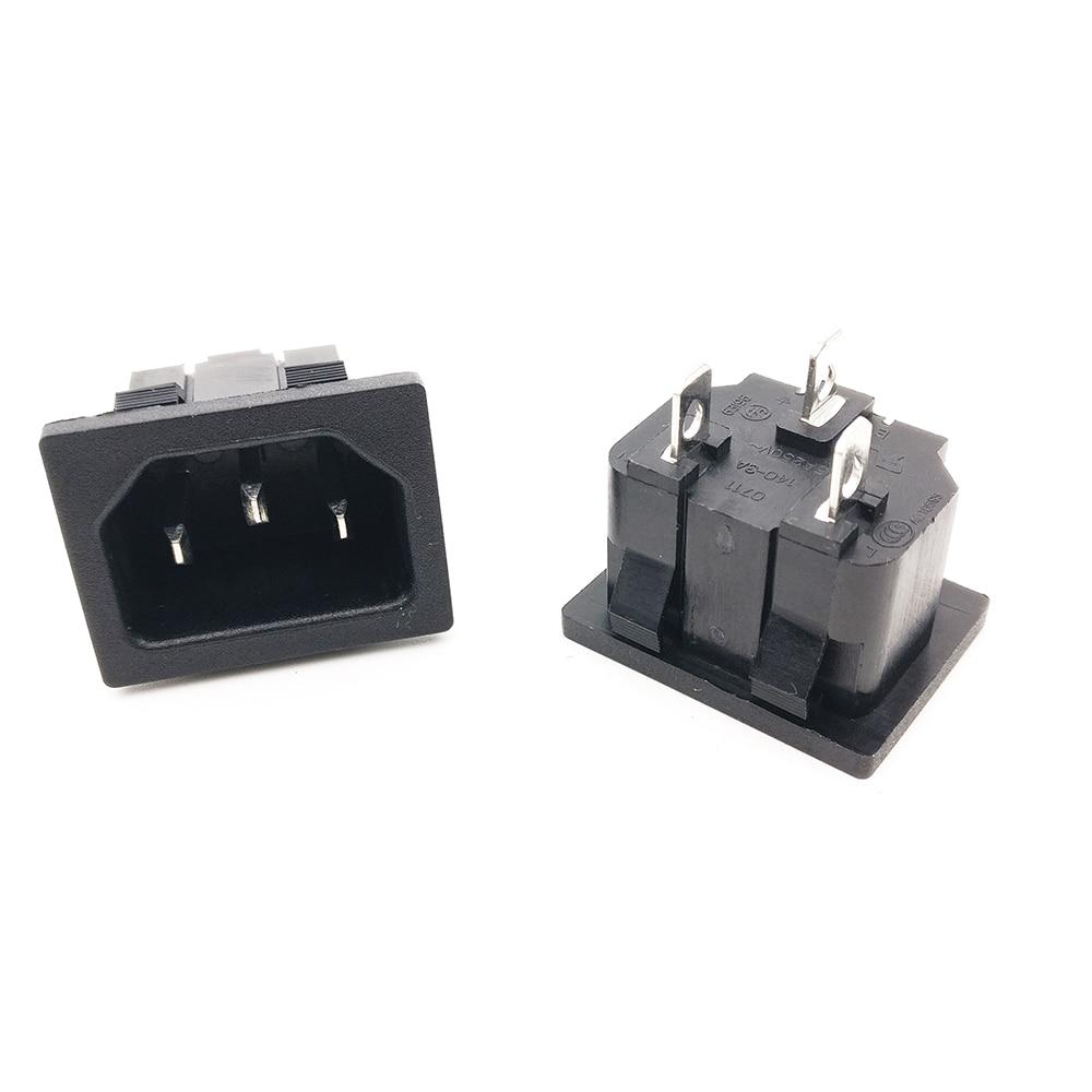 10pcs/lot AC power socket C14 Inlet Power Socket Connector Plug Industrial socket Plug IEC320 C14 3Pin Panel Power Inlet Socket
