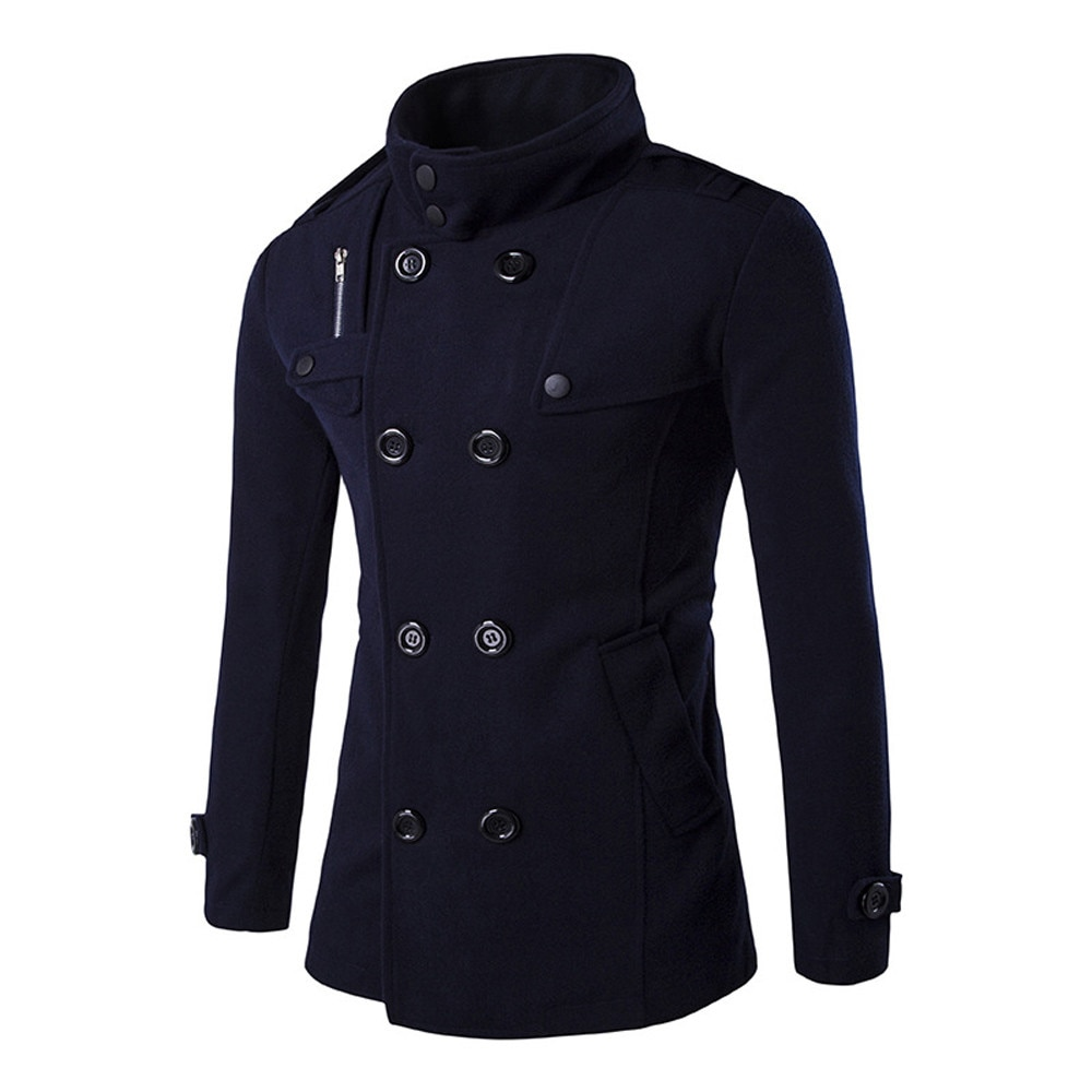 2020 nowych moda męska pełna rękaw Smart Casual odzież robocza wiatrówka płaszcz ciepły gruby wełniany Peacoat długi płaszcz ubrania