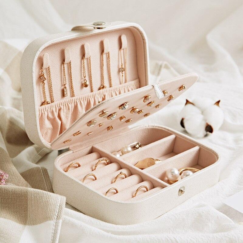 Caja de joyería, caja de almacenamiento de pintalabios y maquillaje, contenedor de belleza, collar, regalo de cumpleaños, organizador de cosméticos de joyería para viaje