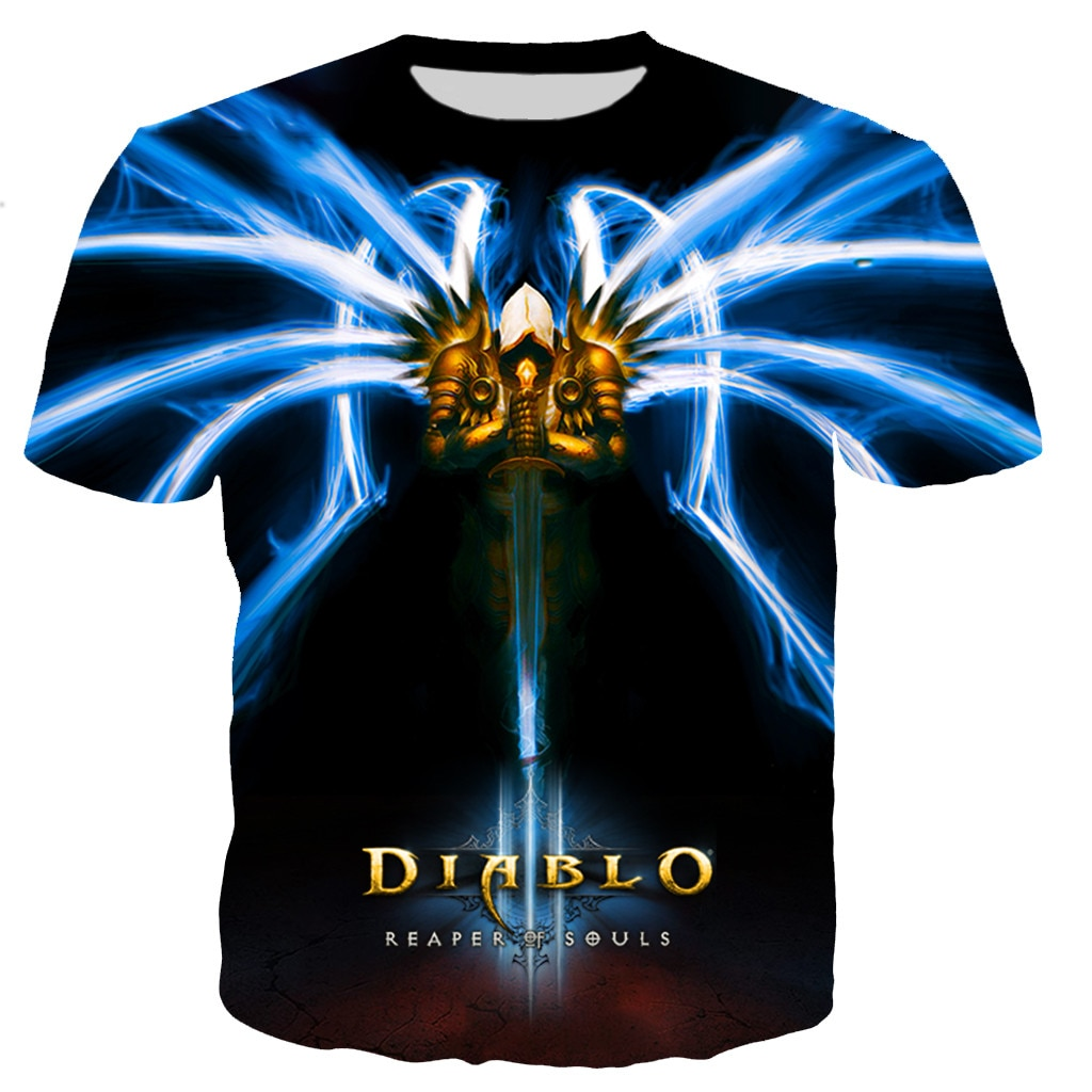 Summer Hot Sale Game Diablo 3 Reaper of Soul Printed 3D T-shirt Men/women Fashion Cool Casual Oversized Streetwear Tees Clothes