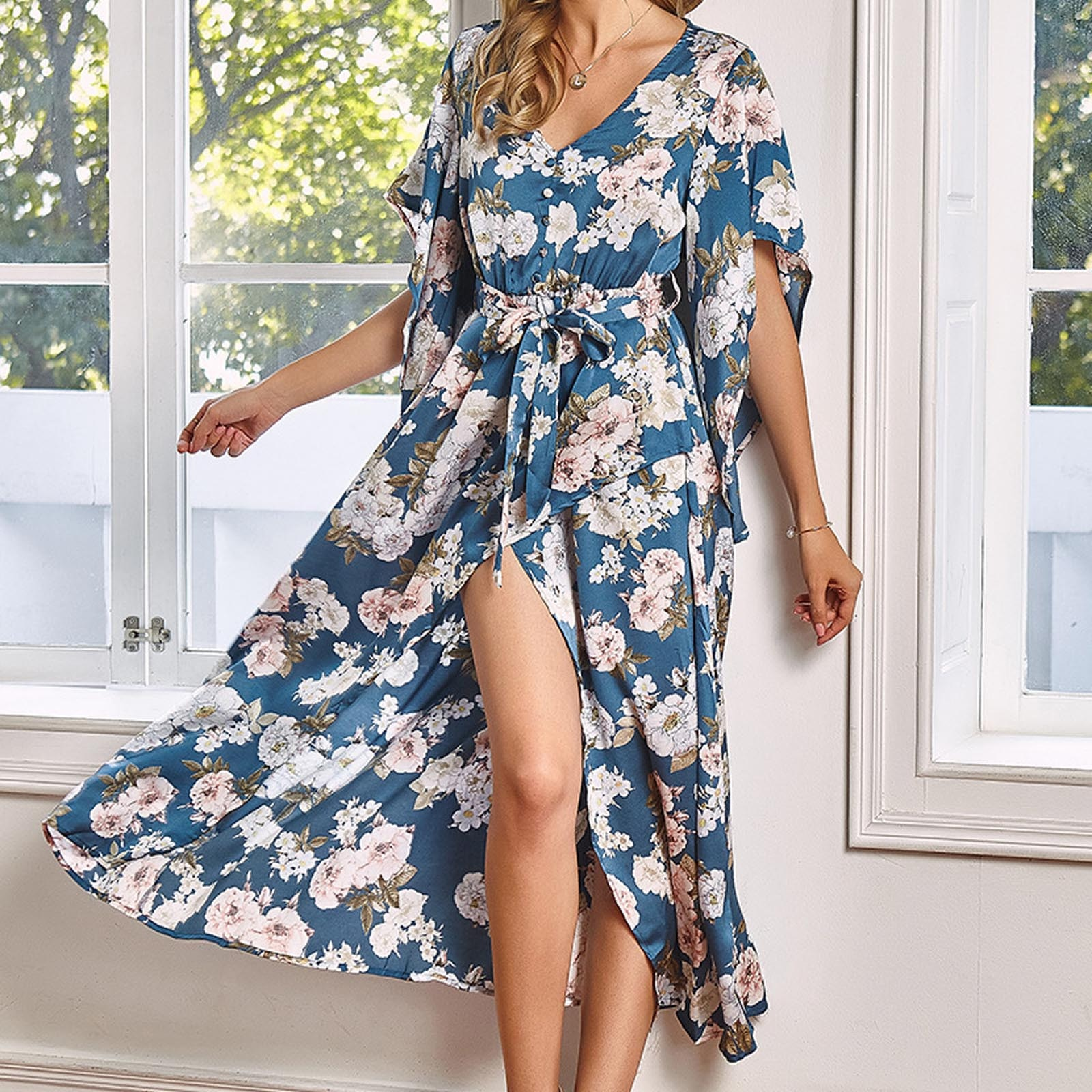 Sexy Long Dress Fashion Women Bridesmaid Wrap One-piece High Waist Long Maxi Dress Printing Floral V
