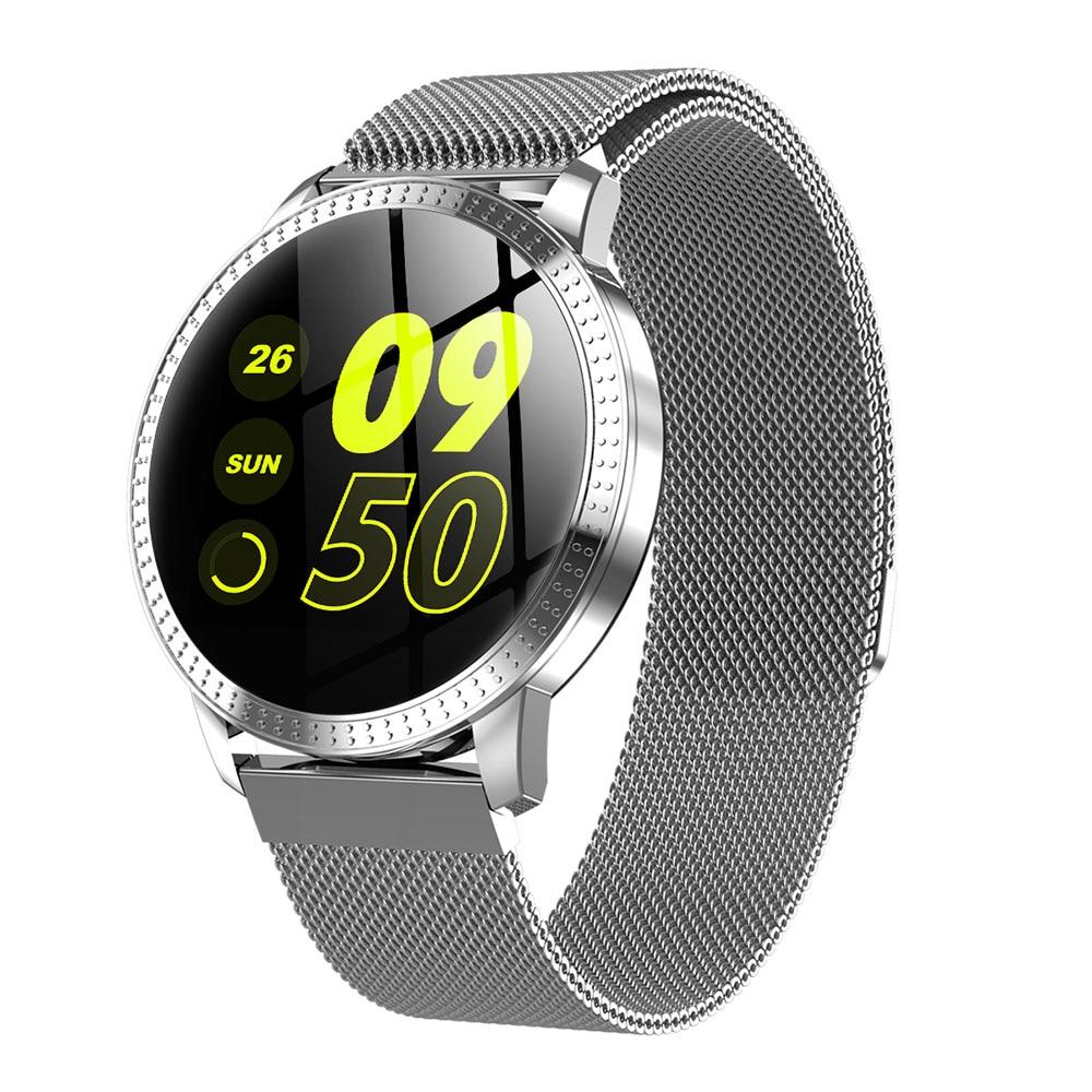 Reloj inteligente CF18 de 1,22 pulgadas resistente al agua IP67, monitor de presión arterial, correa de Metal con múltiples modos de deporte para mujer
