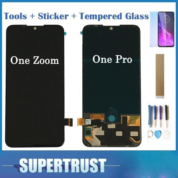 Con Cristal Templado Original para Motorola Moto One Zoom One Pro pantalla LCD + MONTAJE DE digitalizador con pantalla táctil Color negro