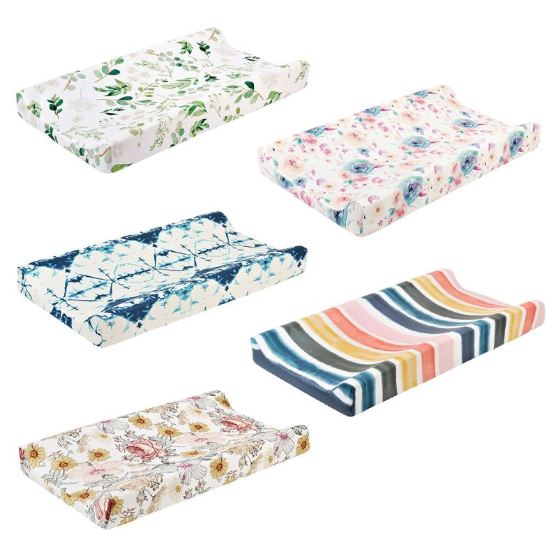 Baby Changing Pad Cover Floral Print Fitted Crib Sheet Infant or Toddler Bed Nursery Unisex Diaper Change Table Sheet