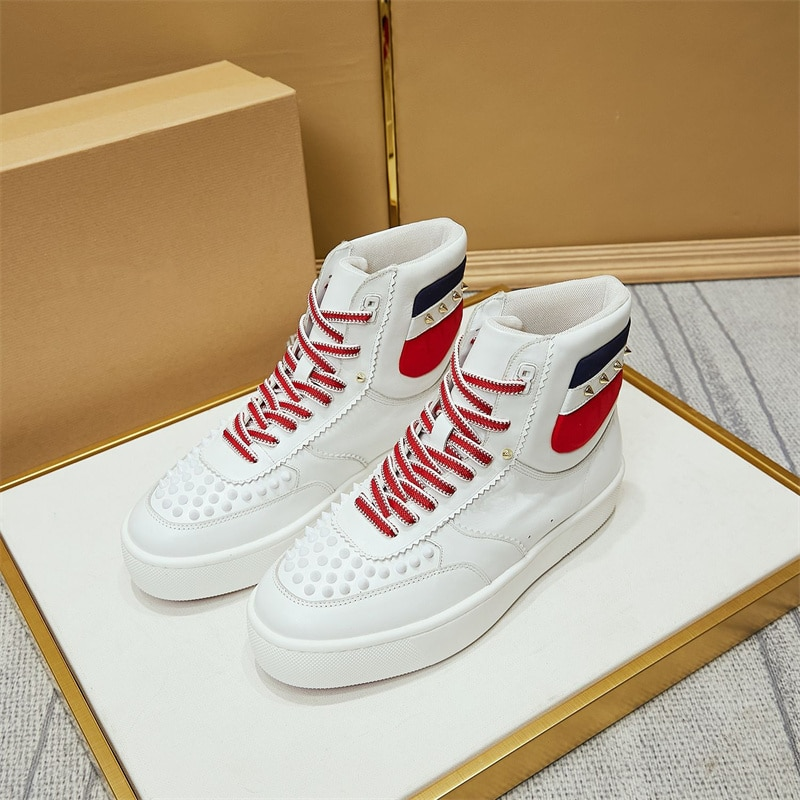 2021 High-top Running Shoes Men's Riveted Sneakers Women's red Soles TPU red soles men's and women's sizes 35-47
