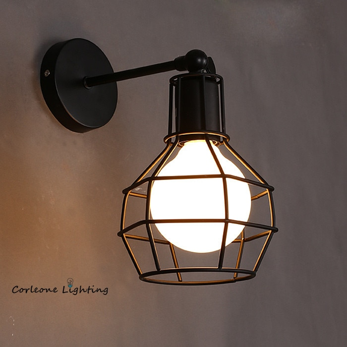 Retro Wall Lamp Vintage Industrial Iron Art Wall Light Bedside Lamp Living Room Wall Sconce LED E27 Indoor Wall Light Fixture wood iron wall lamps vintage sconce wall light fixture e27 220v bedside retro lamp industrial decor dining room bedroom light