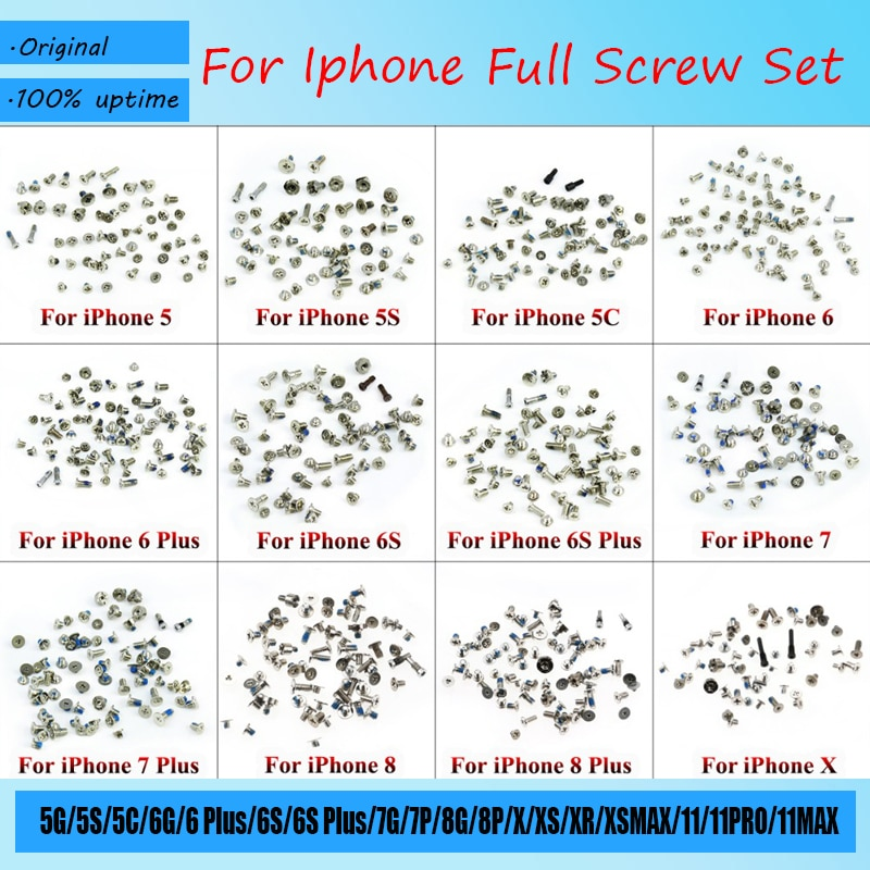 Full Screw Set Replacement for iPhone 5 5S 5C 6 6 Plus 6S 6S Plus Repair Bolts Complete Kit Replacem