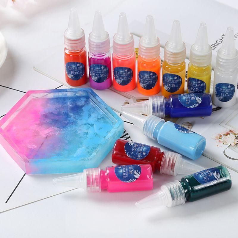 10ml de harina de nieve teñir la difusión de procesamiento fino DIY cristal epoxi molde arte tinte pigmento Jewerly Accessoris