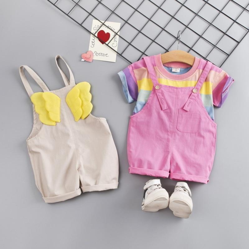 Купить с кэшбэком Fashion Baby Girl Clothes Toddler Color Striped T Shirt Bib Shorts 2pcs/set Kid Garment Infant Costume Children Casual Tracksuit