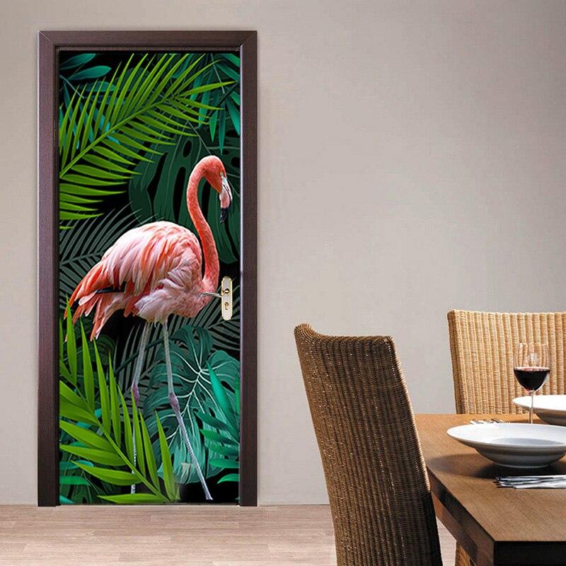 3D фото обои ручная роспись тропический лес Фламинго фон Гостиная Кабинет Спальня дверь наклейка ПВХ Фреска