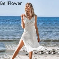 2021 womens beach sunscreen skirt hollow out v neck tank solid sarong swim sexy beach swimwear cover up women bathing suit