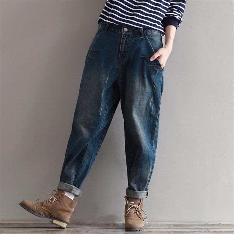 Johnature Casual Loose Women Jeans 2021 Autumn New Zippers Button Fashion Plus Size Women Cothes Korean Full Length Pants