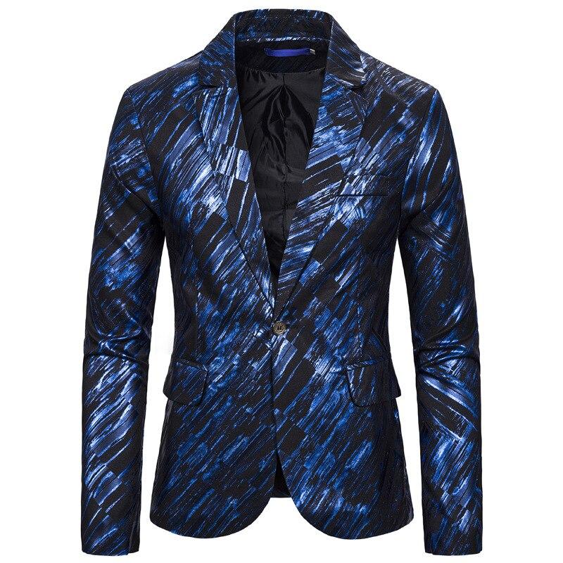 Синий геометрический полосатый Блейзер мужской хипстерский приталенный костюм