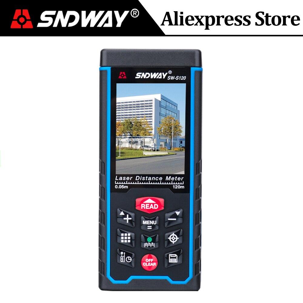 Telémetro láser SNDWAY Color LCD medidor de distancia láser 120M 100M 80M 70M 50M telémetro regla de ángulo Digital cinta métrica