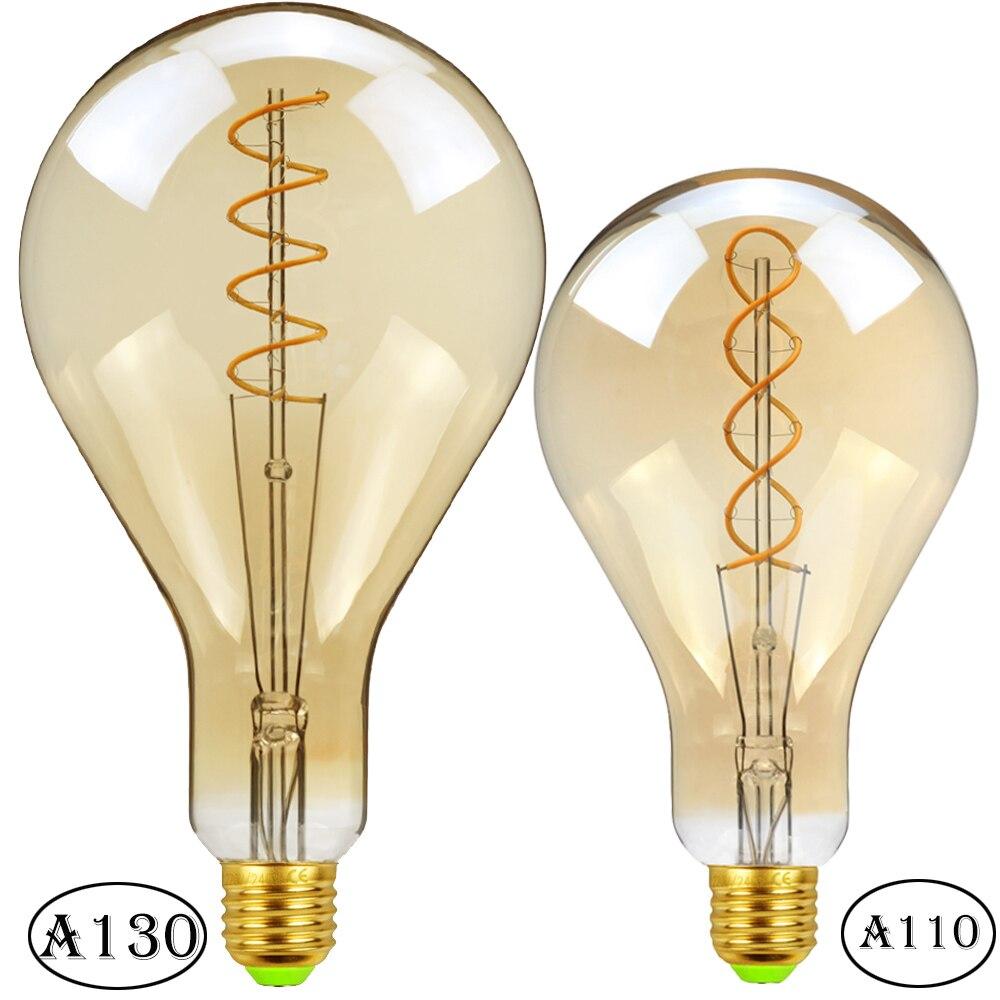 TIANFAN Led Bulb Vintage Light Bulb Spiral Filament A130/A110 220V E27 4W Dimmable Decorative Bulb