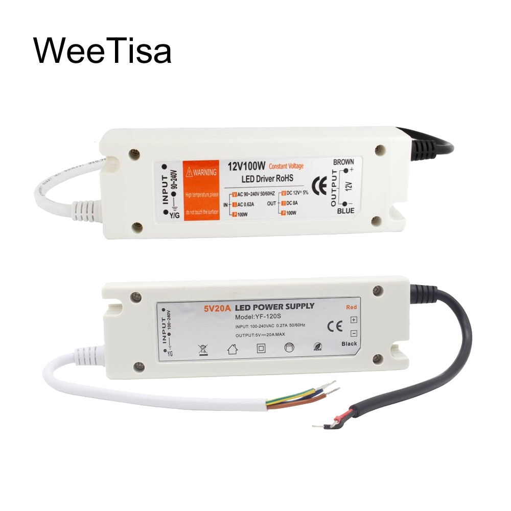100w 12v mini power supply 5v 20a smps ac to dc 12v 8a power supply for led screen 5v 12v 24v 4 2a led mini power supply 5V Power Supply 12V LED Driver 5 Volt Power Adapter 12 Volt 60W 72W 100W AC 110V 220V to DC 5V 12V 8A 20A LED Strip Transformer
