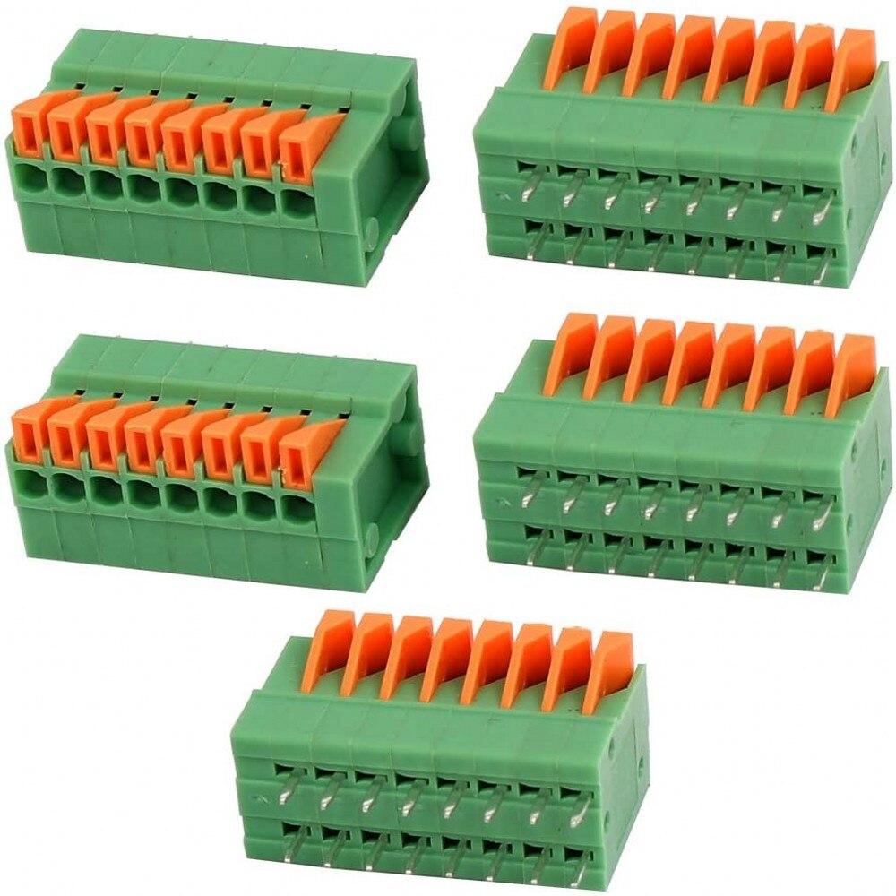 Bloques de terminales KF141V KF141R KF142V 142R PCB, bloques de terminales de resorte KF141-2.54 KF142-5.08 2P 3P 4P 5P 6P 7p 8p 9p 10p Conector de terminales 100 Uds.
