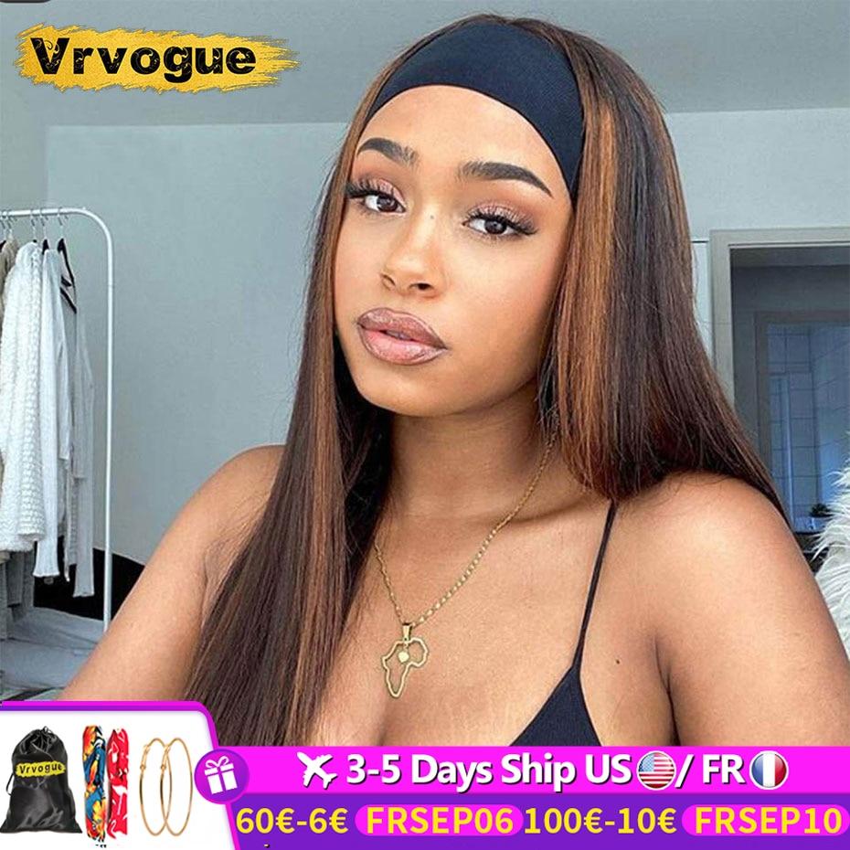 Headband Wig Human Hair Straight Brazilian No Glue Ombre Headband Human Hair Wig For Black Women Remy 150% Highlight Wig Vrvogue
