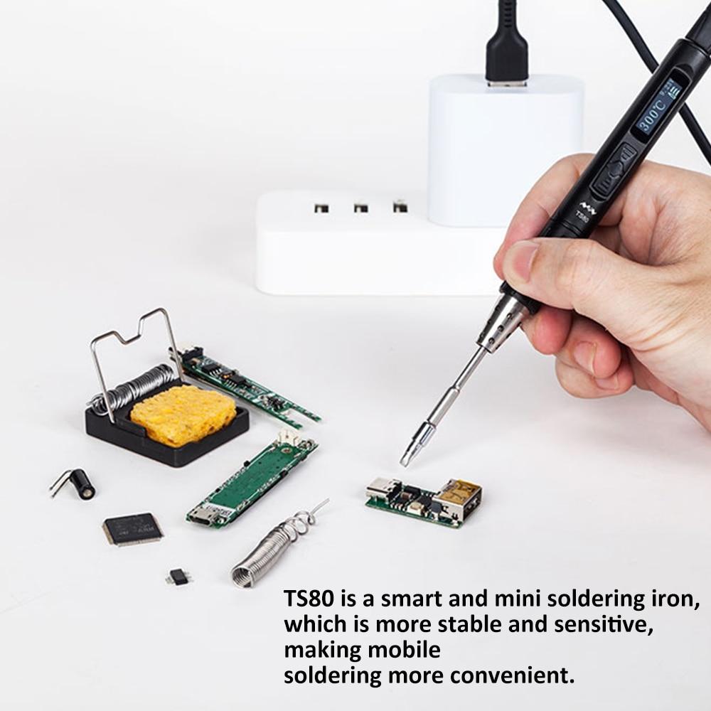 Nuevo Mini TS80 soldador inteligente Digital OLED pantalla USB interfaz tipo-c pluma de soldadura incorporado STM32 Chip