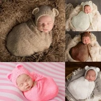 fashion newborn photography props baby wrap blanket infant costume outfit kids girl boy baby hat knit mohair photo shoot props