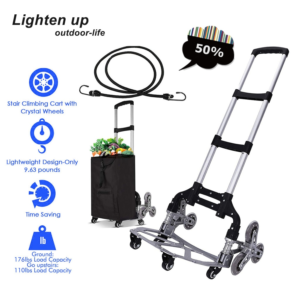 Stair Climbing Trolley All-terrain Stair Climbing Trolley with Elastic Rope Portable Folding Trolley for Moving Goods