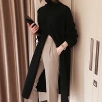 knitted pullover tops split black sweater women long sleeve turtleneck female clothes korean winter new