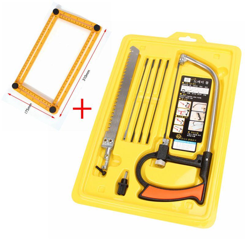 Sierra mágica multifunción 8 en 1, sierra de mano DIY, sierra de acero para Metal, Kit de minisierra de carpintería con 6 cuchillas, modelo de herramienta de Hobby
