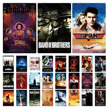 Famous Movie Metal Poster Plaque Metal Vintage Movie Metal Tin Sign Wall Stickers for Bar Pub Club Man Cave Home Wall Decoration