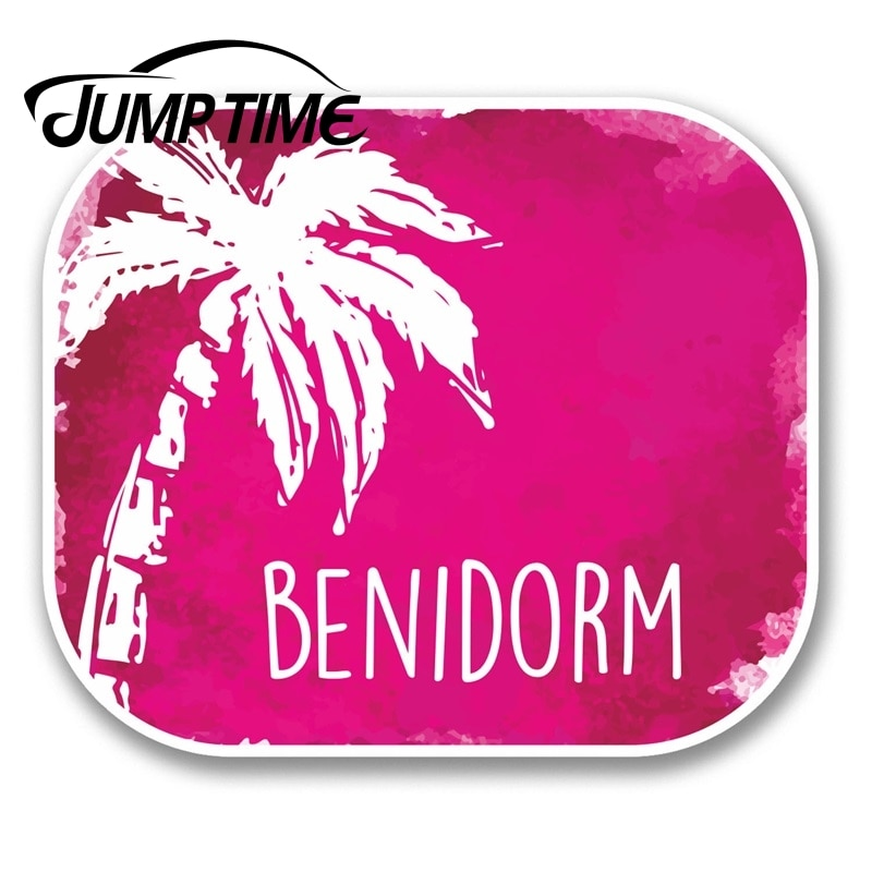 Jump Time for Benidorm Spain Vinyl Sticker Decal Laptop Travel Luggage Spanish Decal Rear Windshield Waterproof Car Accessories