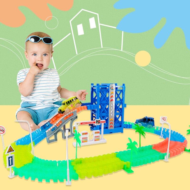 Brilho mágico pista de corrida conjunto carro pista flexível brilhante faixas brinquedo diy acessórios pista presentes brinquedos educativos para crianças