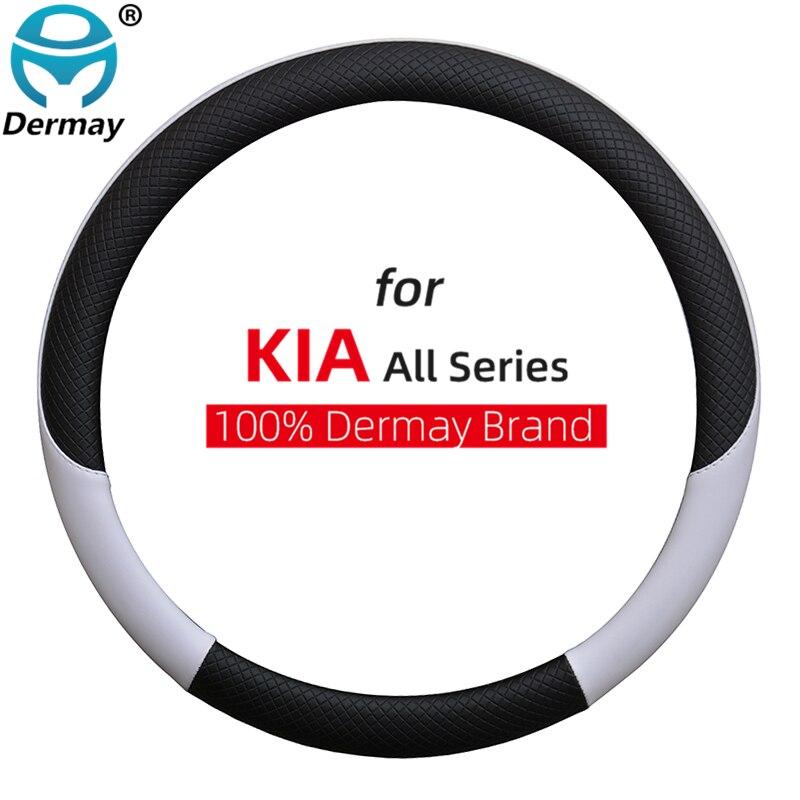 100% DERMAY Brand Leather Car Steering Wheel Cover for Kia NIRO NIRO EV SUV 2016 2017 2018 2019 2020 2021 Auto Accessories