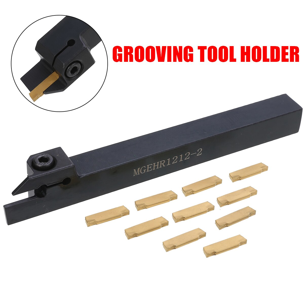 MGEHR1212-2 External Grooving Cut Off Blade Tool Holder Lathe Parting Turning Tool Holder 10pcs MGMN200 Carbide Inserts L Wrench
