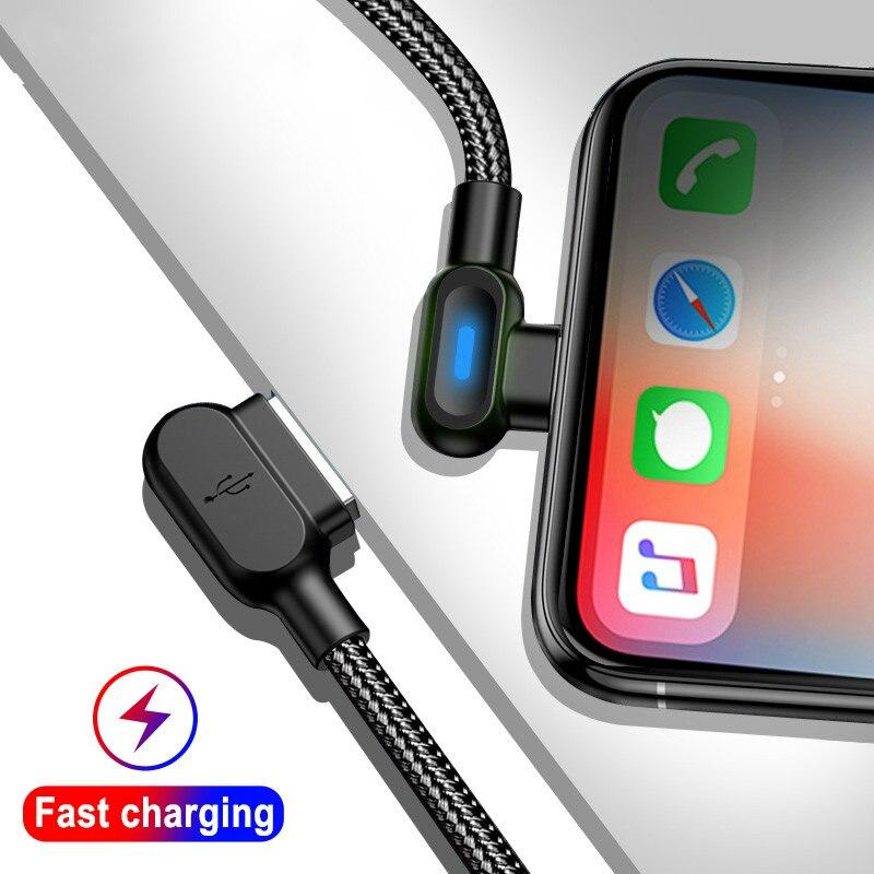 Cable USB de doble codo de 90 grados, Cable LED de carga...