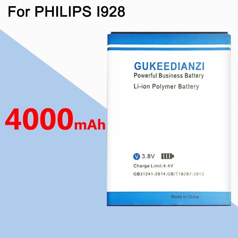 Batería de teléfono GUKEEDIANZI para PHILIPS Xenium I928 CTI928 4000mAh AB3000BWMC baterías