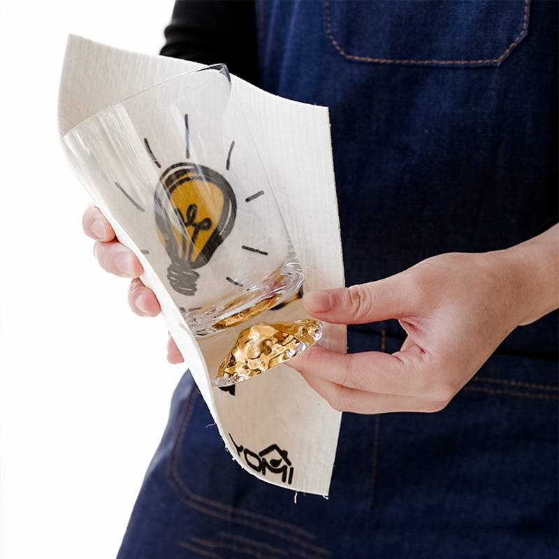 1 ud. De paño de limpieza de fibra de bambú y algodón con diseño de pájaro, paño absorbente de agua, esponja de celulosa, herramienta de cocina para el cuenco de la taza del plato