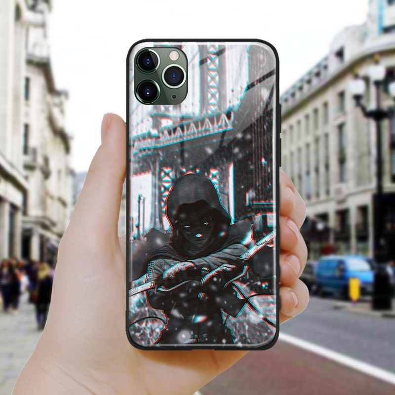 attack on titan anime rival Soft Silicone Glass Phone Case Cover Shell For iPhone SE 6 6s 7 8 Plus X XR XS 11 12 Mini Pro Max