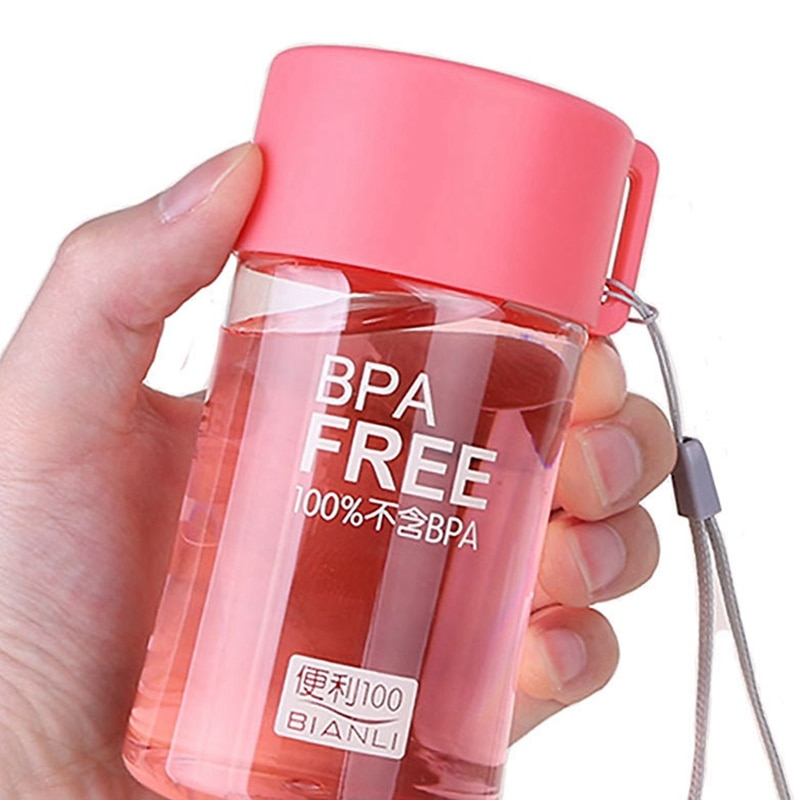Portable Mini Water Bottle BPA Free Drop-proof Cup Plastic Transparent Water Bottles With Rope For S