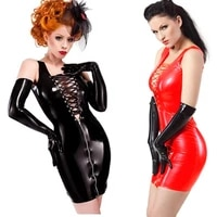 woman plus size wet look pu leather bodycon dress sexy lace up hollow out zipper sleeveless mini short party club dress vestidos