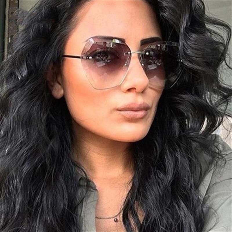 Gafas de sol de gran tamaño, moda para mujer 2019, marca de lujo, gafas de sol sin montura, gafas transparentes para mujer, gafas de sol grandes UV400