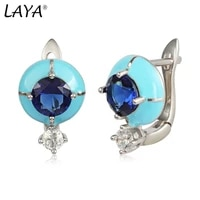 laya contracted earrings for women 925 silver sterling silver bohemian style enamel round accessories fine jewelry 2021 trend